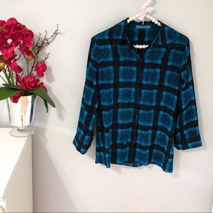 Alice + Olivia Blue/Black Button Down Shirt Sz XS